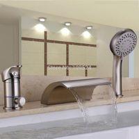 Wholesale free ship Brushed Nickel Waterfall Bathroom Bath Roman Tub Filler Faucet W Hand Shower