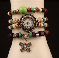 beaded mens watches - bracelet watch Hot Lvzhu butterfly bracelet watch DIY creative gifts beaded watch Buddha bead bracelet watch beautiful mens watch