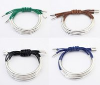 arc rope - Fashion semi arc metal multilayer bracelet DIY handmade leather braided rope woman bracelets birthday present E57