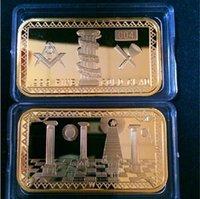 gold bullion - Rare Freemasons gold plated oz Bar Masonic Symbols Magnificent bullion Bar