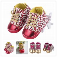 Cheap 5pairs Free Shipping 2colors Pick Charms Toddler Leopard Style Crib Lace Up Sole Baby Kids First Walker Shoes DDF