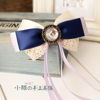 Pequeños adornos de pelo de la calle hebilla hecha a mano del arco Corea Fan cuerda de la cabeza de la flor cuerda de pelo coreano tocado coreano Smurfs