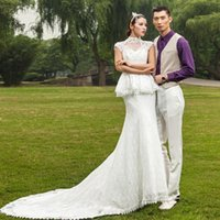 Cheap Real Model Pictures Sheer High Neck Mermaid Wedding Dresses Long Train Lace Appliqued Vintage Bridal Gown with Sash Custom Made