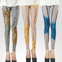 Wholesale Whole sale New Style Women Milk Silk Thin Leggings Design Leopard Printing Nine Pants SKINNY D141022