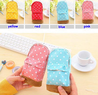 big bag pattern - Free UPS Ship New Stationery Multifunctional big capacity pencil case Dot school bag pattern Cute storage box Pencil Bag Pen Holder