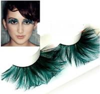 ballet dance tips - pairs YM059 dark green tip hair feather false eyelashes eyelash ballet Latin Dance