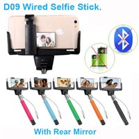 Wholesale D09 Wired Selfie stick Monopod Handheld with rear mirror Extendable Clip holder for IOS iphone Android smartphones Samsung