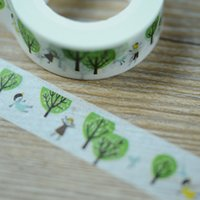 Wholesale decoration new tree rolls package paper adhesive tape for cartoon or gift or wall decoration