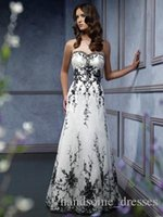 black and white wedding dress - 2014 sweetheart black embroidery accented a line black and white wedding dress