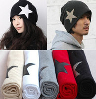 Wholesale Men Women Berets Hot Korean Style Color Matching Hat Five pointed Star Cap Triangle Set Head Cap Crochet Autumn Winter Drop DHL