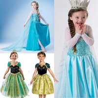Wholesale 2014 Hot ICE Princess Anna Elsa Dress Girls Cosplay Princess Queen Halloween Girl Dresses Theme Costume Christmas Party Dress Xmas Gift