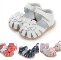 baby blue navy - girls sandals genuine leather flower white pink navy red for wedding christenning SandQ baby sandals on magazines F1 closed toe wide EMS