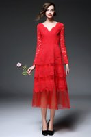 Wholesale 2016 Spring New Women s Dresses Lace One piece Dress Gown V neck Big Pendulum Dress Red Long Sleeve Dress