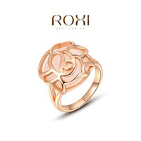 Couple Rings Engagement Tension setting FG ROXI 2014 Chirstmas Gift Rose Gold Plated Romantic Hollow Opal Ring Statement Rings Fashion Jewelry For Women Party Wedding