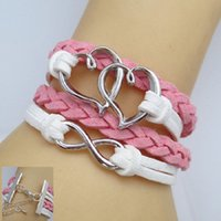 Wholesale Jewelry Fashion Vintage Double Heart Leather Cute Infinity Charm Bracelet U Pick NEW DIY