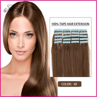 Wholesale Cheap Pu Tape Hair Extensions set Remy Human Hair Skin Weft inches Brazilian Virgin Hair Straight Freeshipping Color