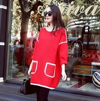 korean maternity dress - 2015 Korean New Woolen Pregnant Woman Dresses Large Size Fashion Lady Maternity Dress Spring Maternity Clothes High Quality Red Navy H3240 L
