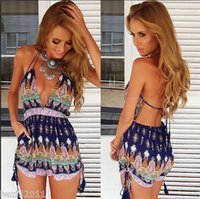 Wholesale Fashion Women Sexy Jumpsuit High Waist Gorgeous Backless Playsuit Shorts Rompers