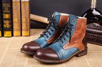 Cheap British Style Men Winter Boots Genuine Leather Fashion Martin Ankle Boots Brand Design Men Shoes Vintage Military Boots Big Size