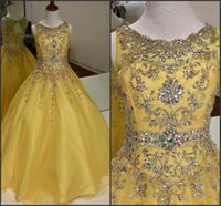 Wholesale Gorgeous Quinceanera Dresses Yellow Sheer Scoop with Beads Keyhole Back Beading Belt Floor Length Sweet Prom Pageant Gowns BO9994