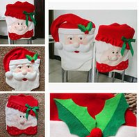 Wholesale DHL70 cm christmas chair Mr Mrs santa claus cover chair covers for christmas Decorations Kitchen Chair Covers Dinner Decor Chair Gift