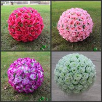 rose balls wedding - 12 Inch Elegant Artificial Silk Rose Flower Kissing Ball Colors For Wedding Christmas Ornaments Party Decoration Supplies