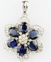 Wholesale Sapphire jewelry necklace pendant Real natural blue sapphire sterling silver Flower jewelry Perfect jewelry DH