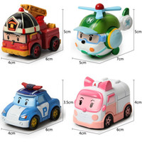 Cheap Hot 4pcs lot kids toys robot Transform festival gifts deformation helicopter fire truck police action figure doll boys and girls