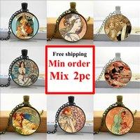 art nouveau animals - NS Alphonse Mucha Necklace Art Nouveau Pendant Jewelry Glass Dome Pendant Necklace