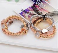 Wholesale Lovely multilayer Coin bracelet Fashion shollow out heart coin Crystal weave multilayer brangle bracelet jewelry women s bracelets bangles