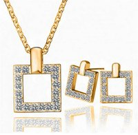 Wholesale High quality gold silver plated Statement austrian crystal wedding jewelry set crystal earring and necklace short design jewelry sets