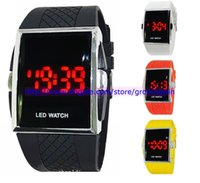 Wholesale Fashion LED watch luxury digital plastic band watch Men Sport Watch red Light date Led Watch Classic style for mens