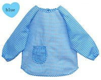 baby proofing - Long sleeves style baby feeding smock cotton checked bibs with water proofing three color blue pink yellow