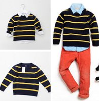 Wholesale Handsome Baby Boys Sweater Long Sleeve Children Boys Tops Fashion Stripes Peter Pan Collar Autumn Winter Kids Clothing Deep Blue L0291