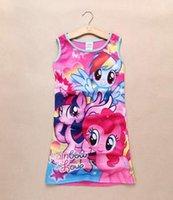 Cheap DHL Fedex Free 2015 Summer New My little pony Sleeveless vest skirt Dresses princess dress pajamas Baby Clothes Kids clothing C001