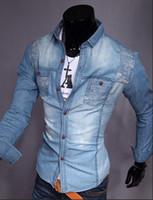 Wholesale men shirt slim fit mens casual shirts long sleeve hot autumn new men s fashion leisure washed denim shirt CC810Y