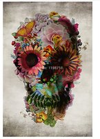 Cheap 50x75CM Wall Sticker Gift Home decoration Flower Skull High Quality Bedding Room Poster Affiche Cartel