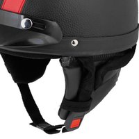 Wholesale FS Hot Red Black Faux Leather Coated Motorcycle Cap Half Helmet Scoop Visor order lt no track