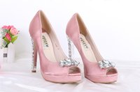 Wholesale Satin Rhinestone Wedding Shoes Peep Toe Platform Pumps Bride Shoes Bridesmaid Shoes Party Dress High Heels Sandals
