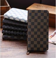 aaa quality handbags - 2015 AAA quality pu color classic male ms grid zipper purse fashion women girl long small packages wallets pocket handbag topB1508
