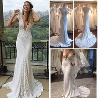 Wholesale 2016 Lace Wedding Dresses Mermaid V Neck Cap Sleeves Sexy Open Back Court Train Bling Sequins Bridal Gowns Real Image Plus Size