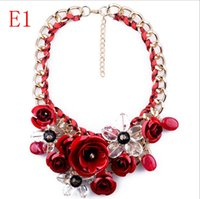 Wholesale 2015 fashion collar chunky Choker Flower Statement Necklace jewelry women necklace pendant