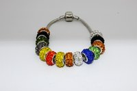 Wholesale Pandora Beads Silver Plated Resin Rhinestone Crystal Big Hole Loose Beads Fit European Bracelets X6mm Colors