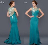 Wholesale Elegant Custom Mother of the Bride Dress Sheer With Exquisite Appliques Sheath Sweep Train Formal Pageant Evening Dress