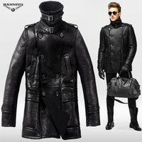 bag wool coat - Fall Hanmiis fur one piece genuine sheep leather jacket merino wool air force colonel coat with leather gloves and Hanmiis bag