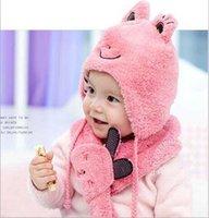 Al por mayor-Corea sombreros bufandas de los niños rana dos piezas trajes para niños y niñas de invierno cálido sombrero punto sombrero del bebé BLU ROSA AMARILLA