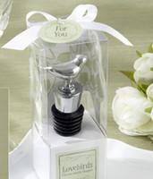 Wholesale Lovebirds Favor - 250pcs New top Chrome Bottle Stopper with Lovebirds Wedding Favors Wine Favor Christmas Gift