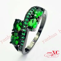 14kt gold jewelry - 2014 New Fashion Fine Jewelry Personalized Lady KT Black Gold Filled Emerald Green Rings for Women Size R6F2665