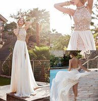 club wear dress - 2015 Sexy Lace Chiffon Prom Dresses Halter Crystals Side Slit Backless Arabic Evening Gowns Beach Bohemian A Line Wedding Gowns BO5557