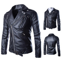 Wholesale leather men Locomotive Spring Black Brown Faux bike Mandarin Collar Solid Motorcycle Zipper Slim Jacket Y105